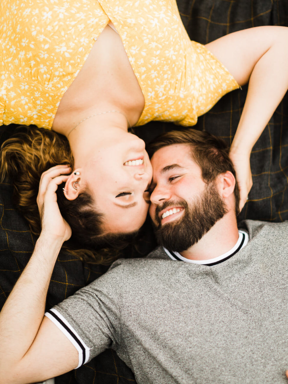 photo of a couple from above embracing