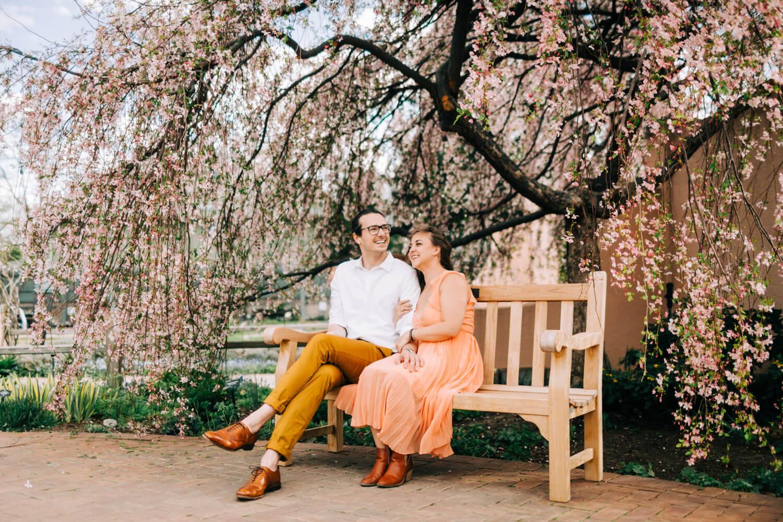 denver botanic gardens engagement in front of cherry blossoms