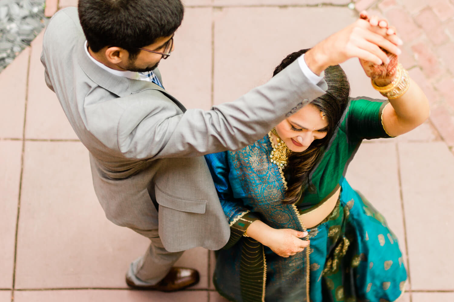 hindu couple dancing from above