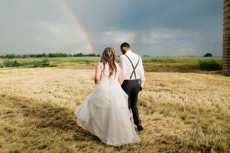 colorado rainbow wedding day bride groom