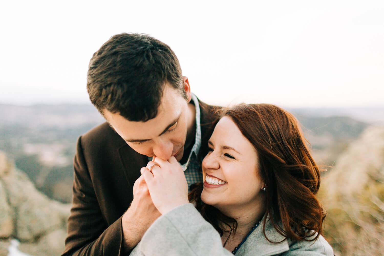 engagement ring kiss